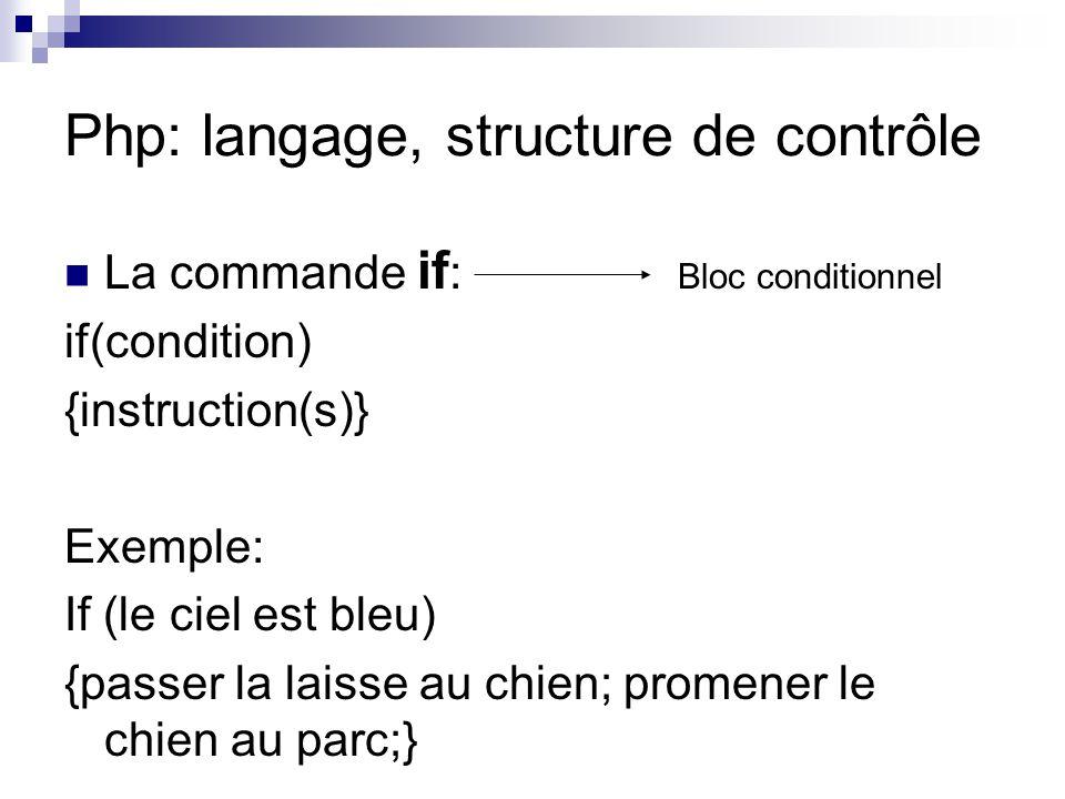 Php: langage, structure de contrôle