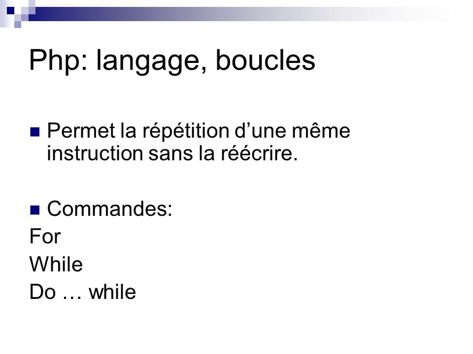 Php: langage, boucles Permet la répétition d'une même instruction sans la réécrire. Commandes: For.