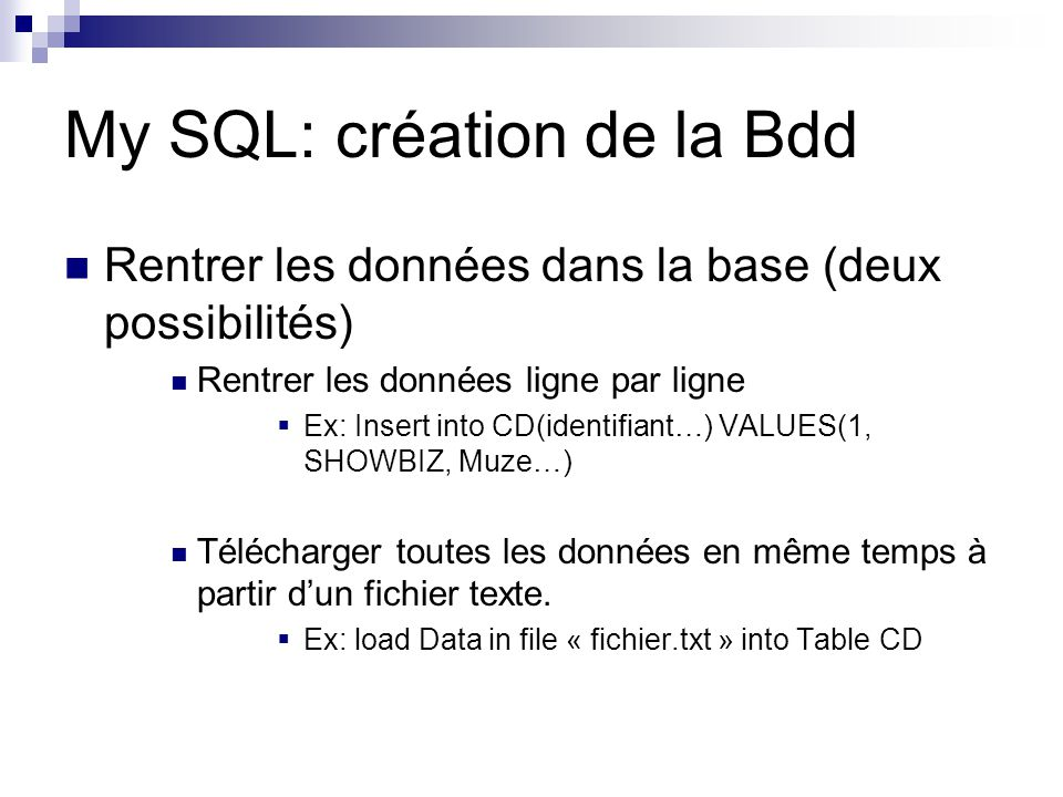 My SQL: création de la Bdd