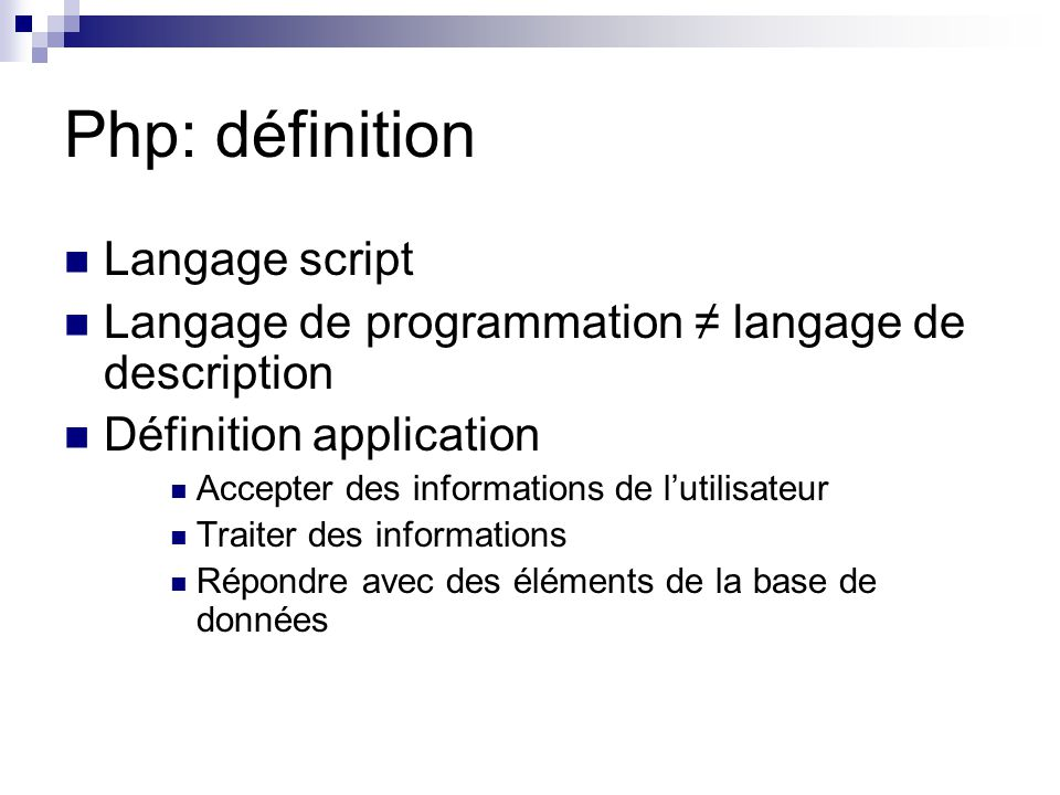Php: définition Langage script