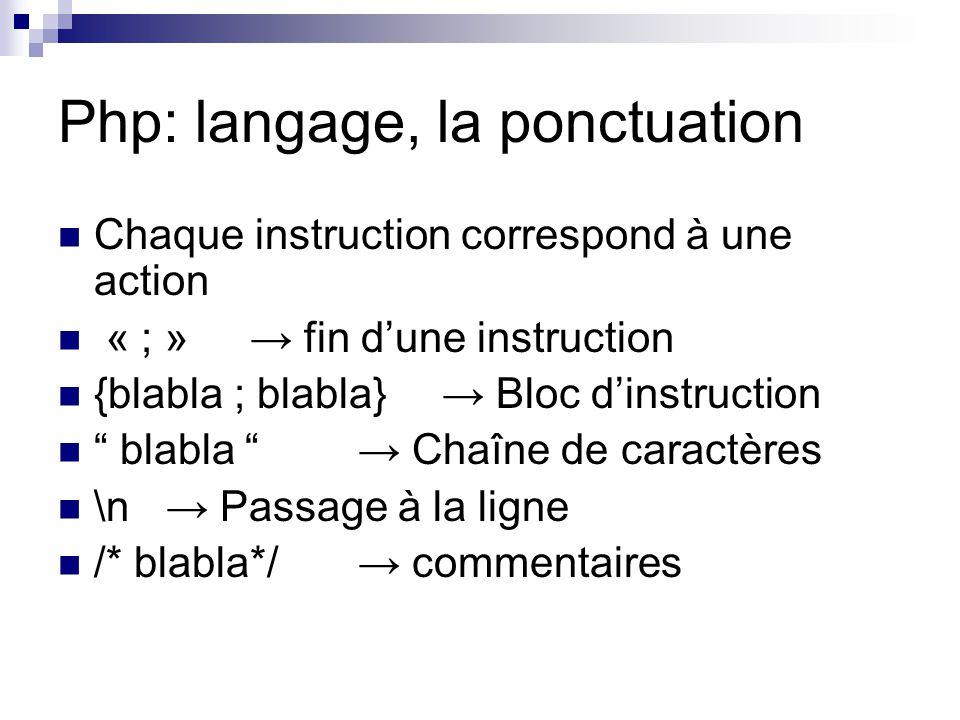 Php: langage, la ponctuation