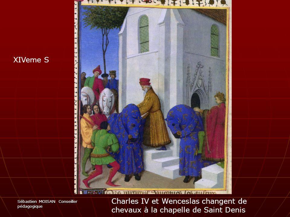 XIVeme S Charles IV et Wenceslas changent de chevaux à la chapelle de Saint Denis.
