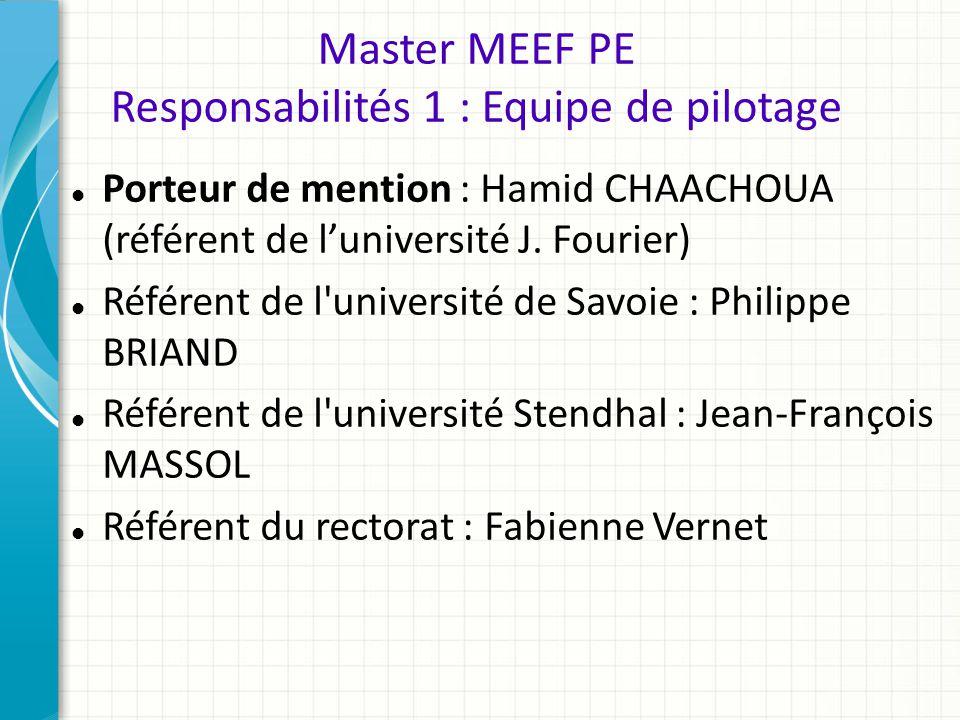 Master MEEF PE Responsabilités 1 : Equipe de pilotage