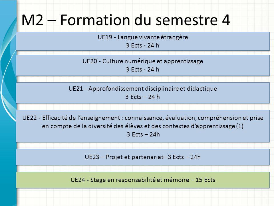 M2 – Formation du semestre 4