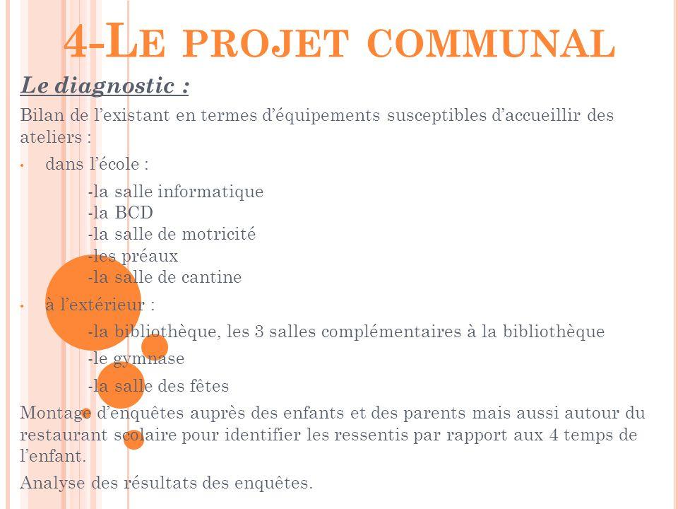 4-Le projet communal Le diagnostic :