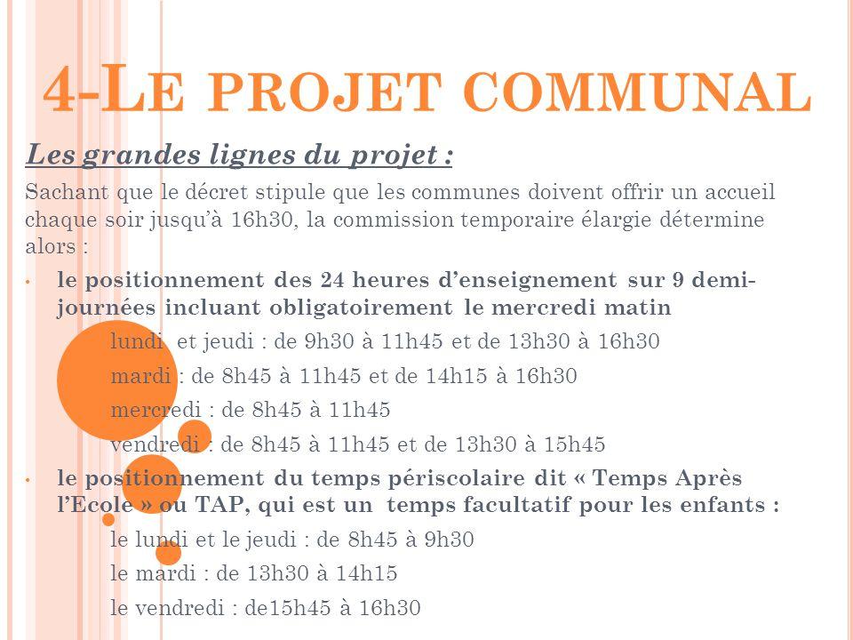 4-Le projet communal Les grandes lignes du projet :