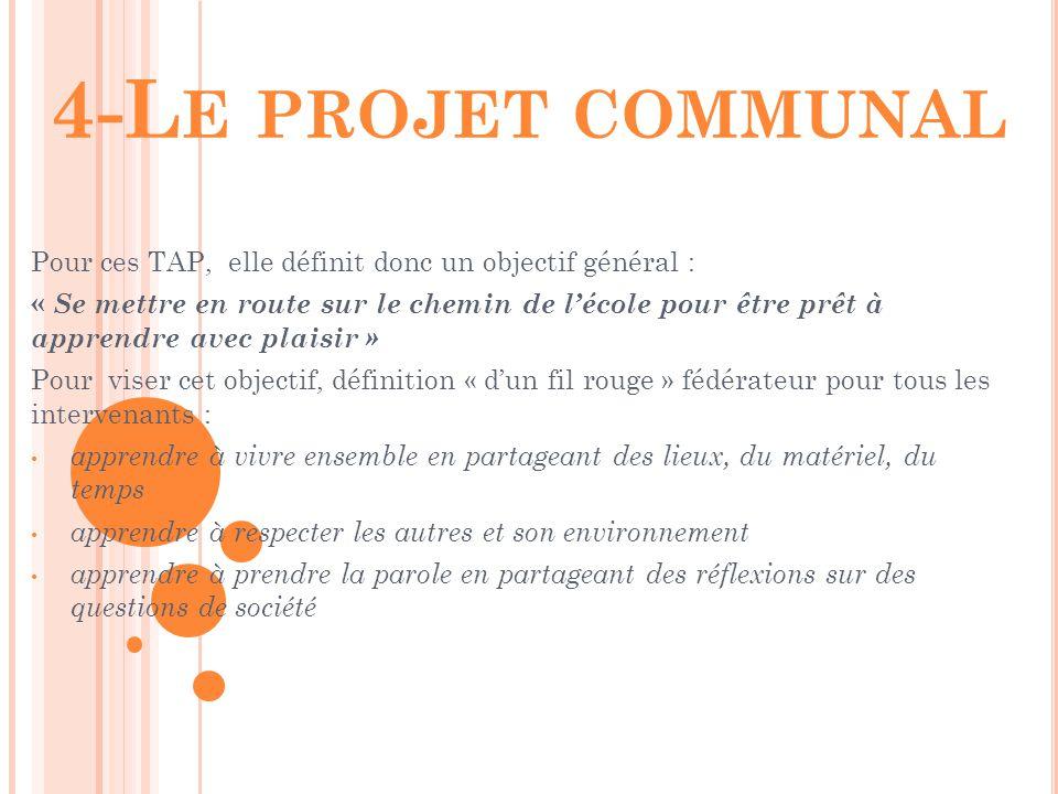 4-Le projet communal Pour ces TAP, elle définit donc un objectif général :