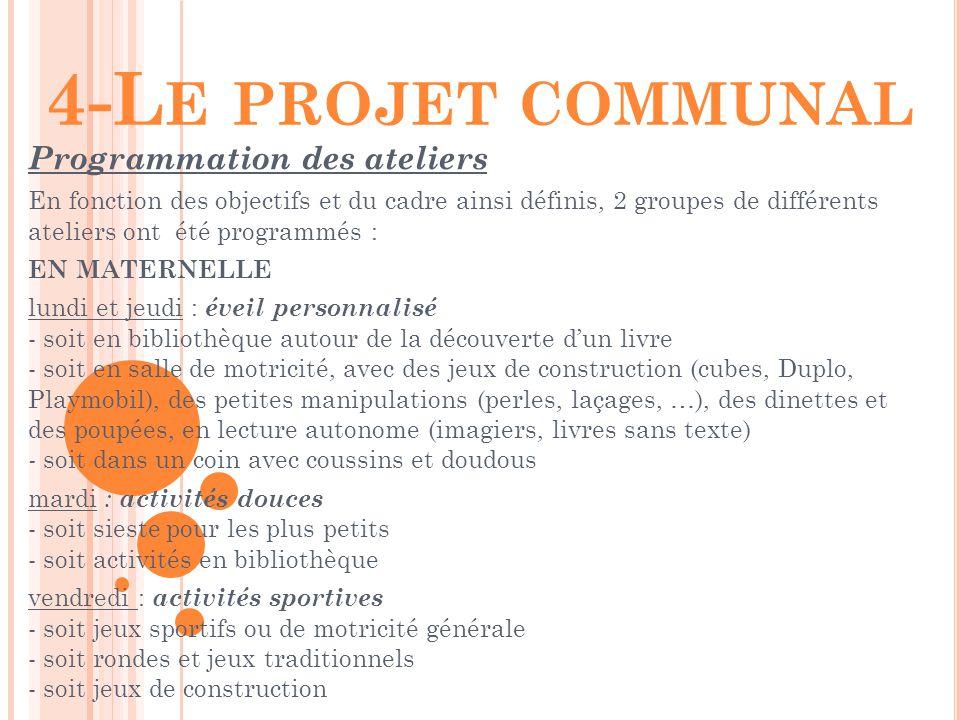 4-Le projet communal Programmation des ateliers