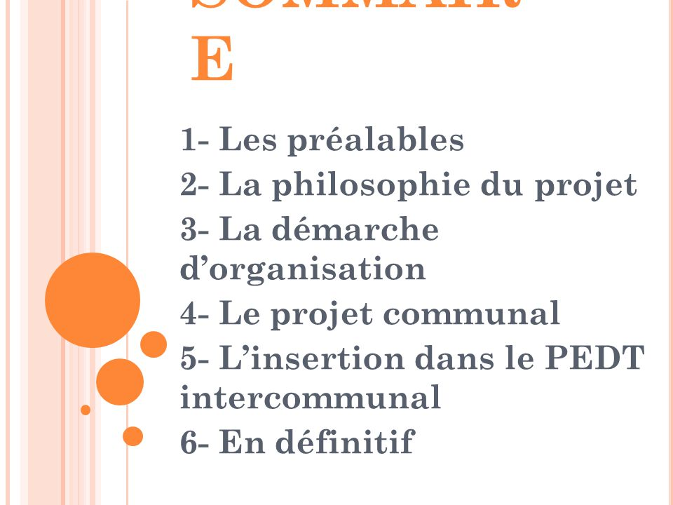 SOMMAIRE 1- Les préalables 2- La philosophie du projet