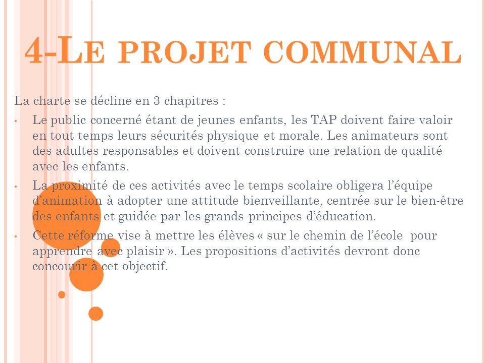 4-Le projet communal La charte se décline en 3 chapitres :