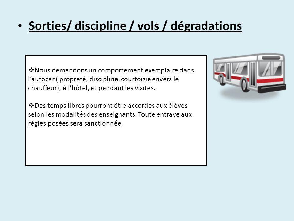 Sorties/ discipline / vols / dégradations
