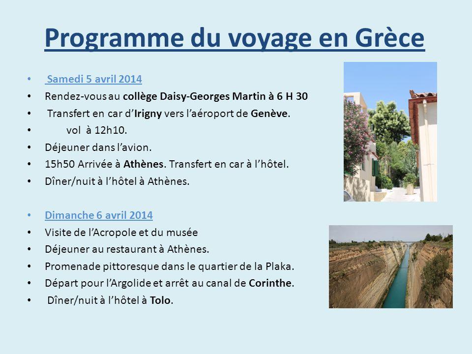 Programme du voyage en Grèce