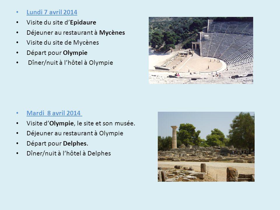 Lundi 7 avril 2014 Visite du site d'Epidaure. Déjeuner au restaurant à Mycènes. Visite du site de Mycènes.