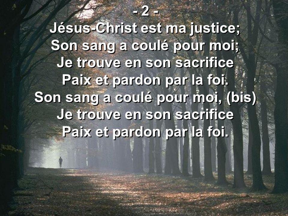 Jésus-Christ est ma justice; Son sang a coulé pour moi;