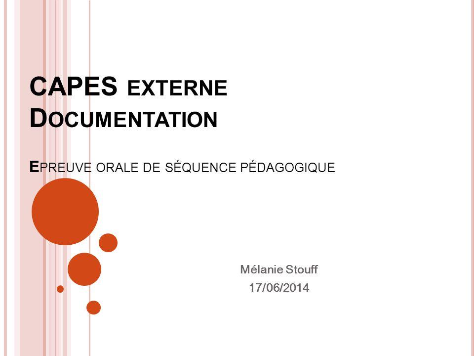 CAPES externe Documentation Epreuve orale de séquence pédagogique