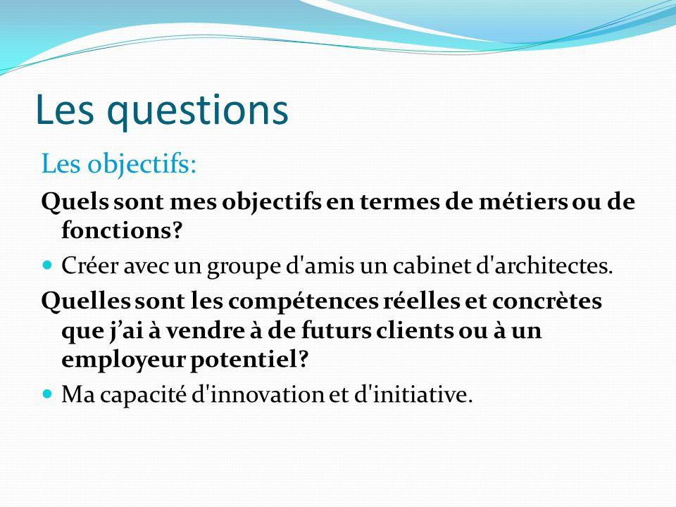 Les questions Les objectifs: