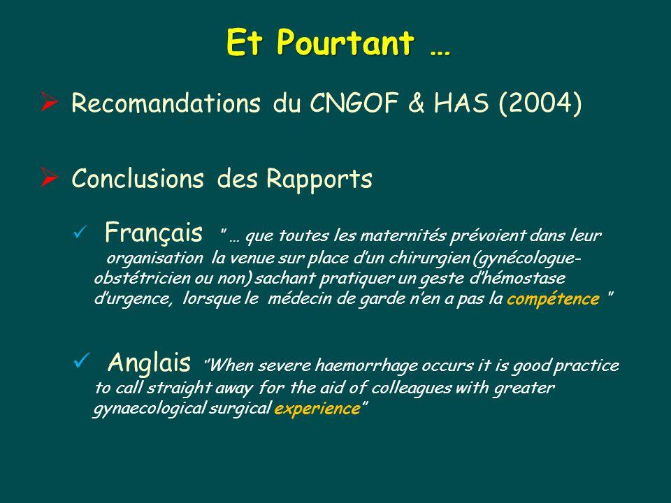 Et Pourtant … Recomandations du CNGOF & HAS (2004)