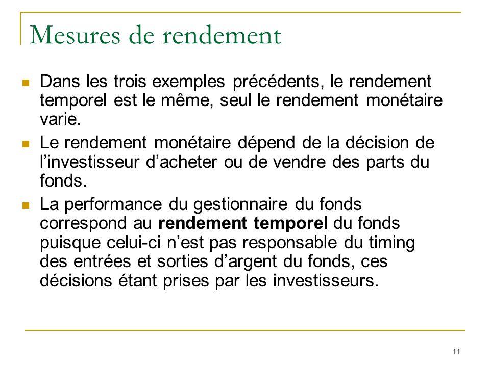 Mesures de rendement Dans les trois exemples précédents, le rendement temporel est le même, seul le rendement monétaire varie.
