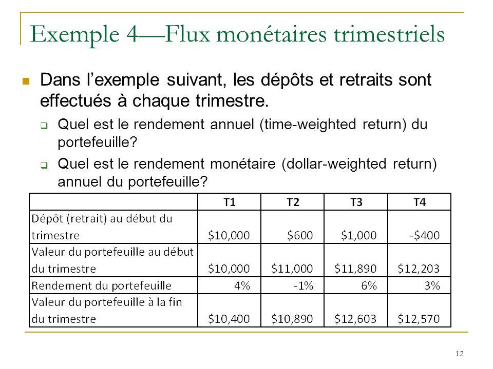 Exemple 4—Flux monétaires trimestriels
