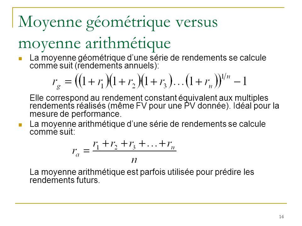 Moyenne géométrique versus moyenne arithmétique