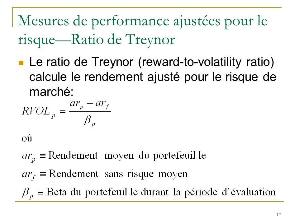 Mesures de performance ajustées pour le risque—Ratio de Treynor