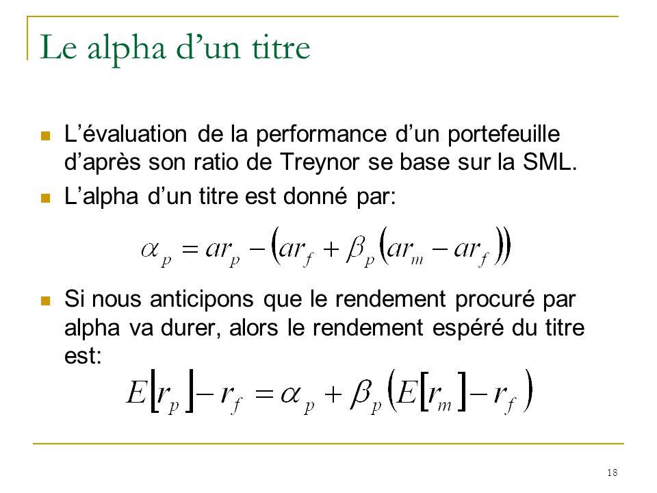 Le alpha d'un titre L'évaluation de la performance d'un portefeuille d'après son ratio de Treynor se base sur la SML.