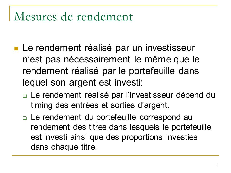 Mesures de rendement