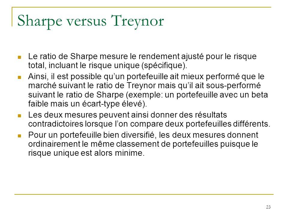 Sharpe versus Treynor Le ratio de Sharpe mesure le rendement ajusté pour le risque total, incluant le risque unique (spécifique).