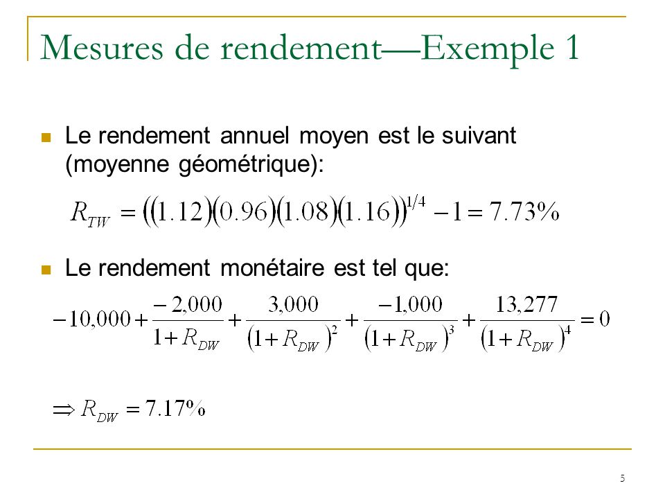 Mesures de rendement—Exemple 1