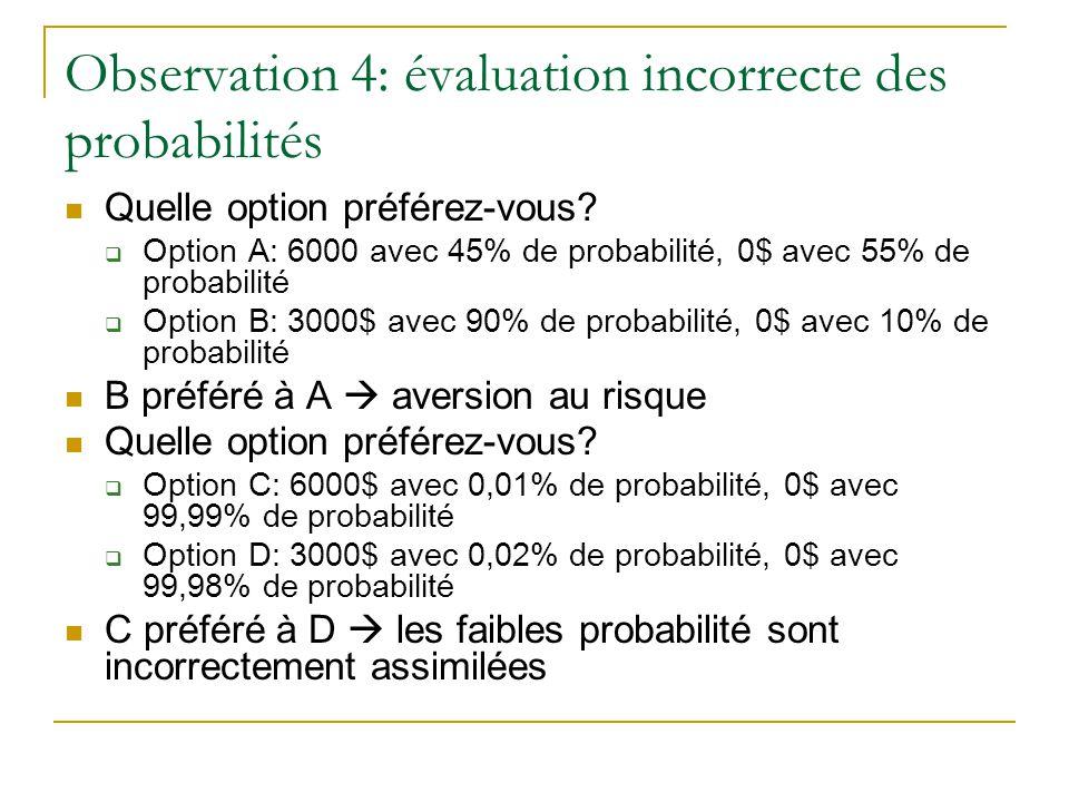 Observation 4: évaluation incorrecte des probabilités
