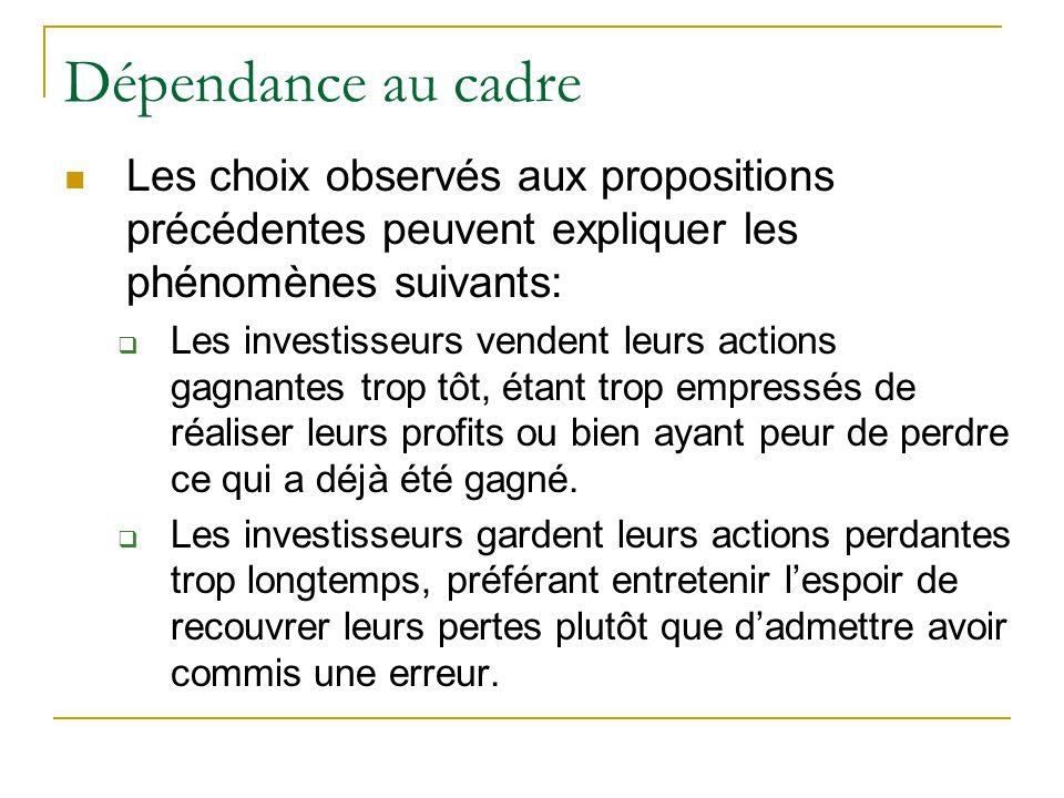 Dépendance au cadre Les choix observés aux propositions précédentes peuvent expliquer les phénomènes suivants: