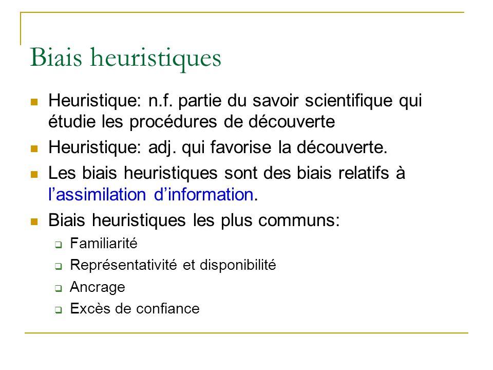 Biais heuristiques Heuristique: n.f. partie du savoir scientifique qui étudie les procédures de découverte.