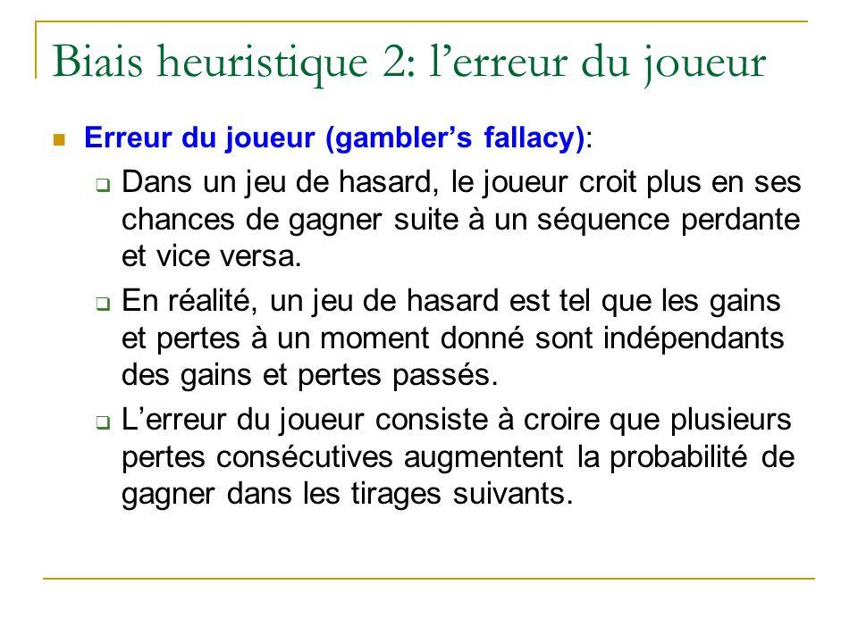 Biais heuristique 2: l'erreur du joueur