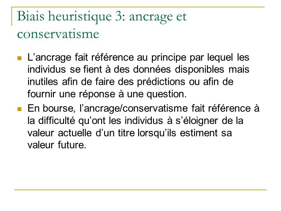 Biais heuristique 3: ancrage et conservatisme
