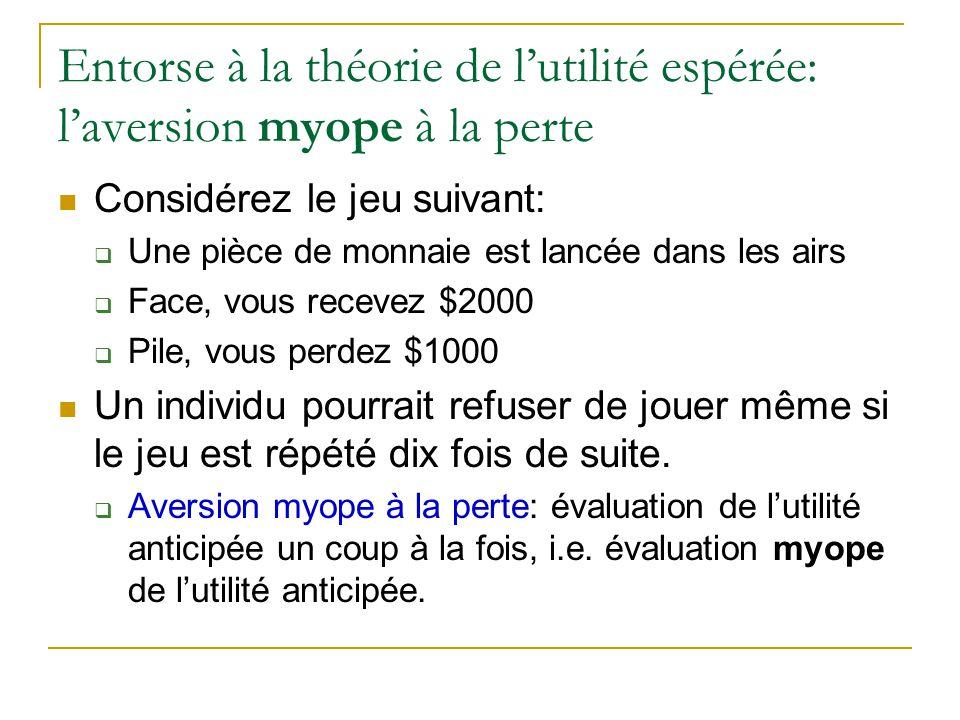 Entorse à la théorie de l'utilité espérée: l'aversion myope à la perte