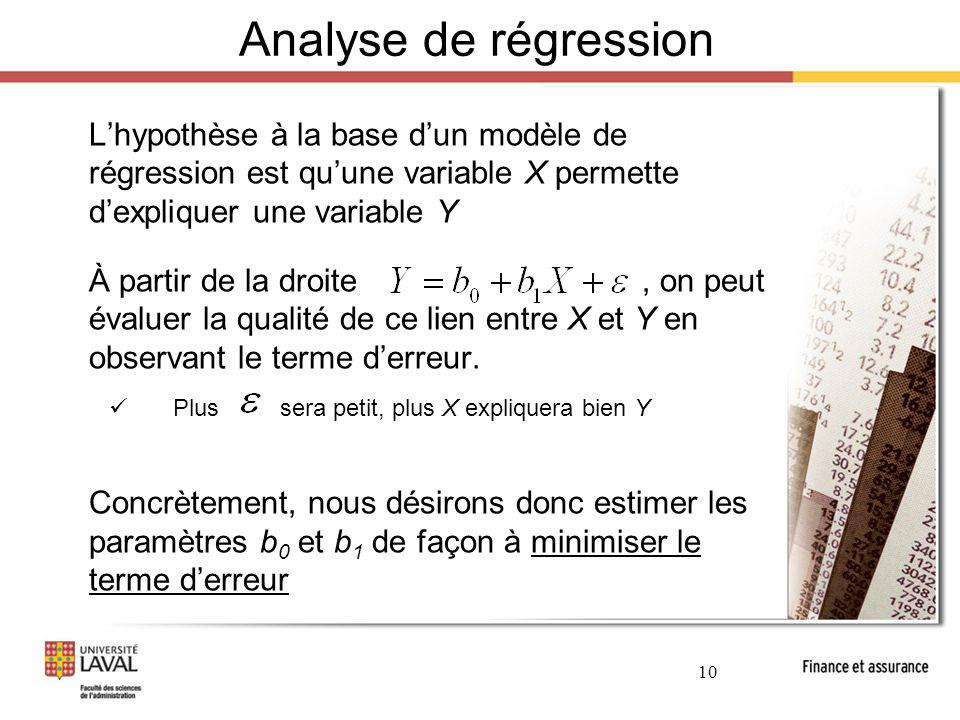 Analyse de régression L'hypothèse à la base d'un modèle de régression est qu'une variable X permette d'expliquer une variable Y