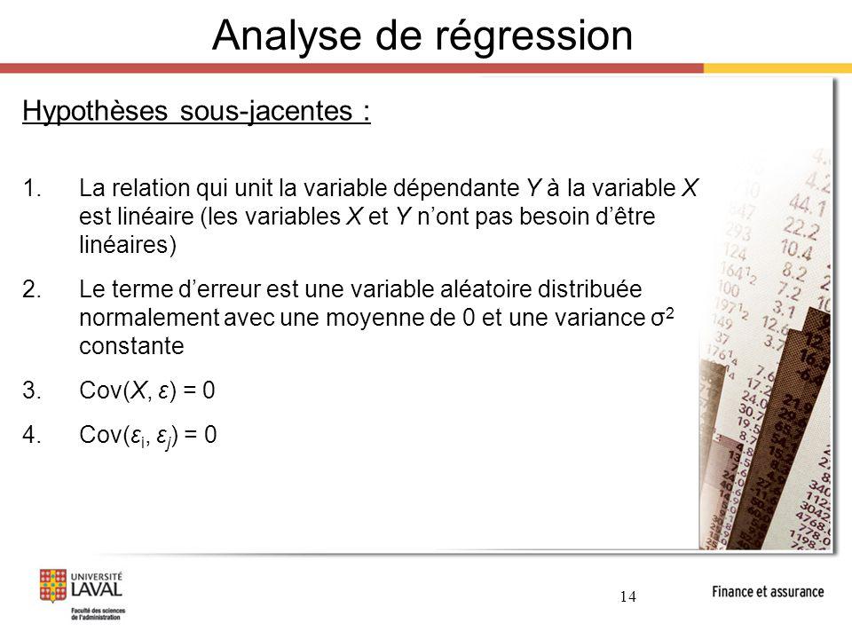 Analyse de régression Hypothèses sous-jacentes :