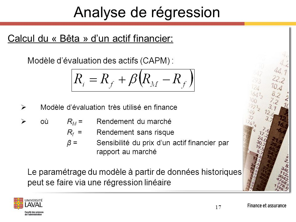 Analyse de régression Calcul du « Bêta » d'un actif financier: