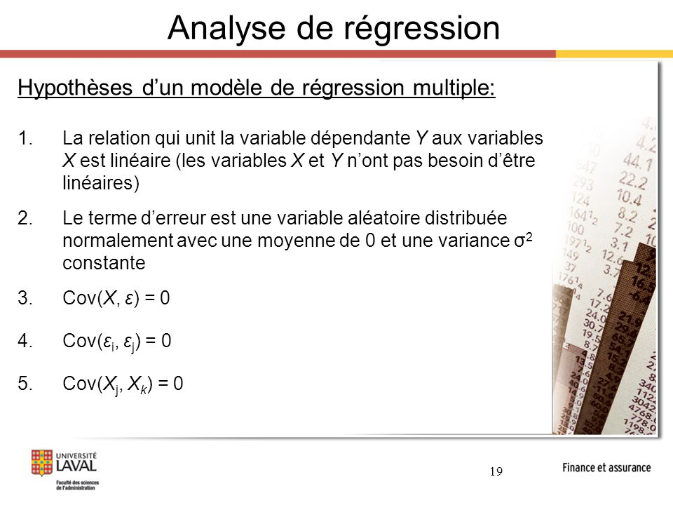 Analyse de régression Hypothèses d'un modèle de régression multiple: