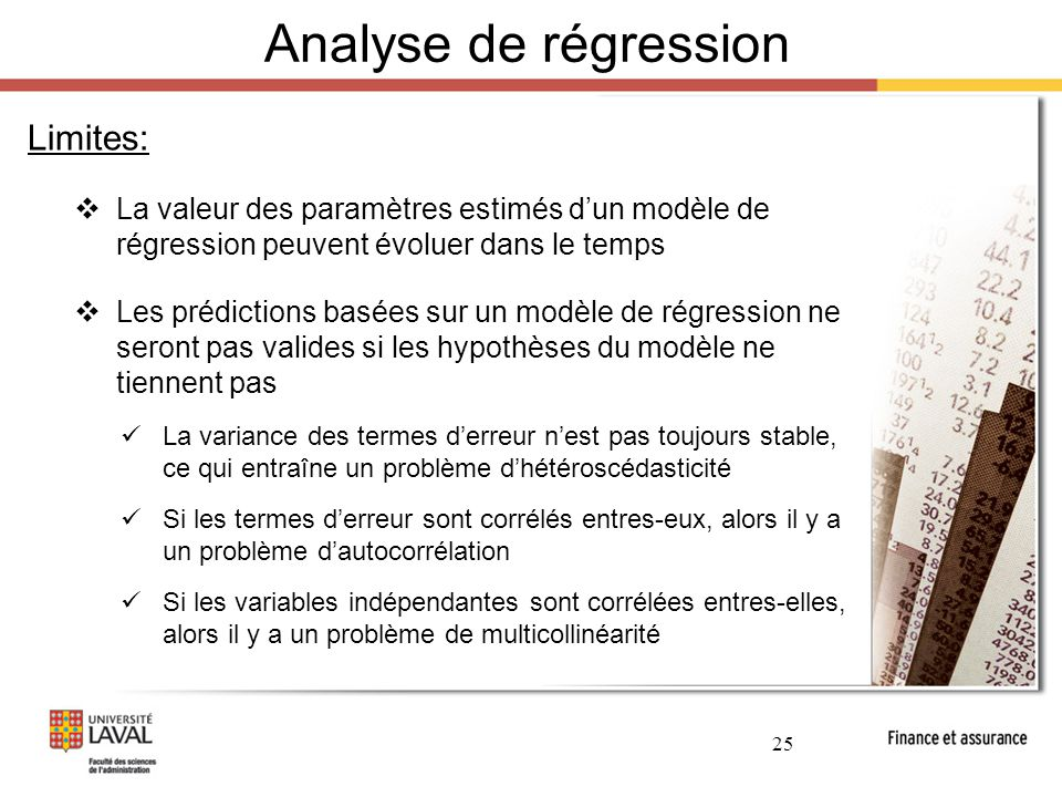 Analyse de régression Limites: