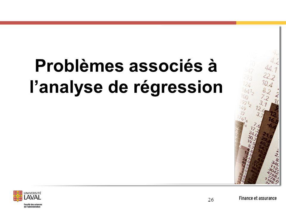 Problèmes associés à l'analyse de régression