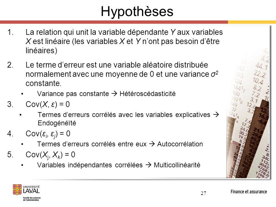 Hypothèses La relation qui unit la variable dépendante Y aux variables X est linéaire (les variables X et Y n'ont pas besoin d'être linéaires)