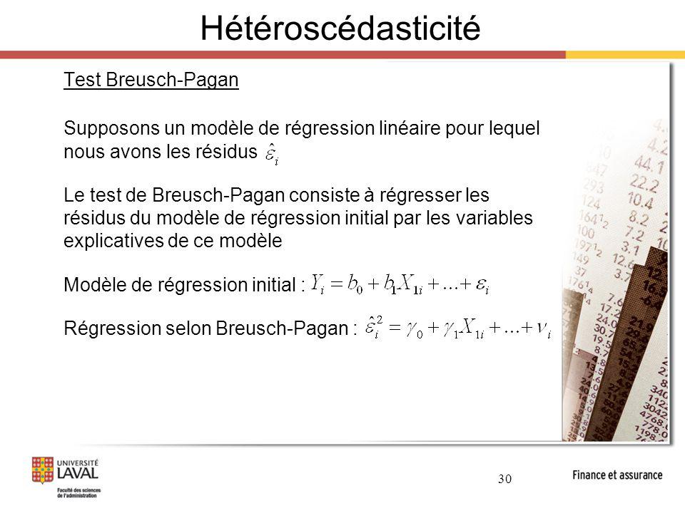 Hétéroscédasticité Test Breusch-Pagan. Supposons un modèle de régression linéaire pour lequel nous avons les résidus.