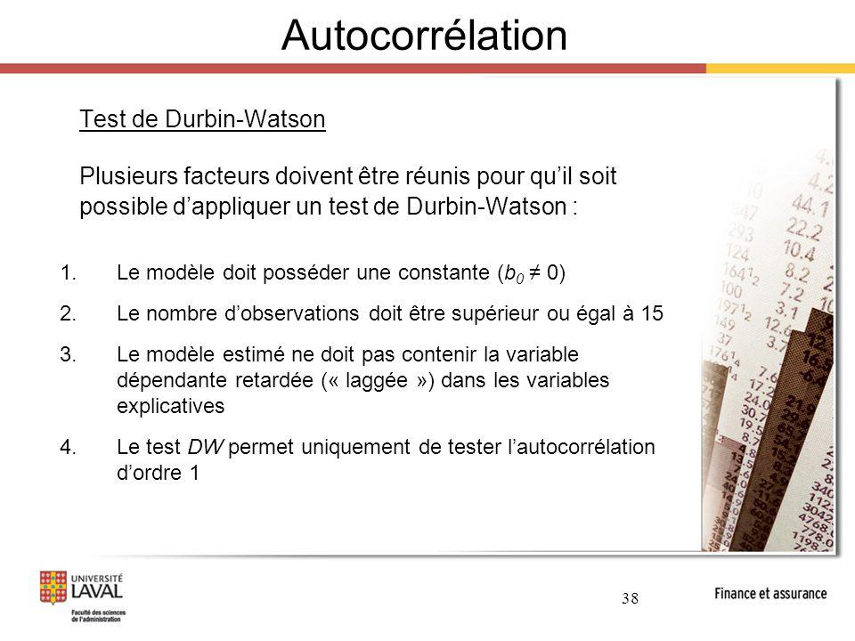 Autocorrélation Test de Durbin-Watson. Plusieurs facteurs doivent être réunis pour qu'il soit possible d'appliquer un test de Durbin-Watson :