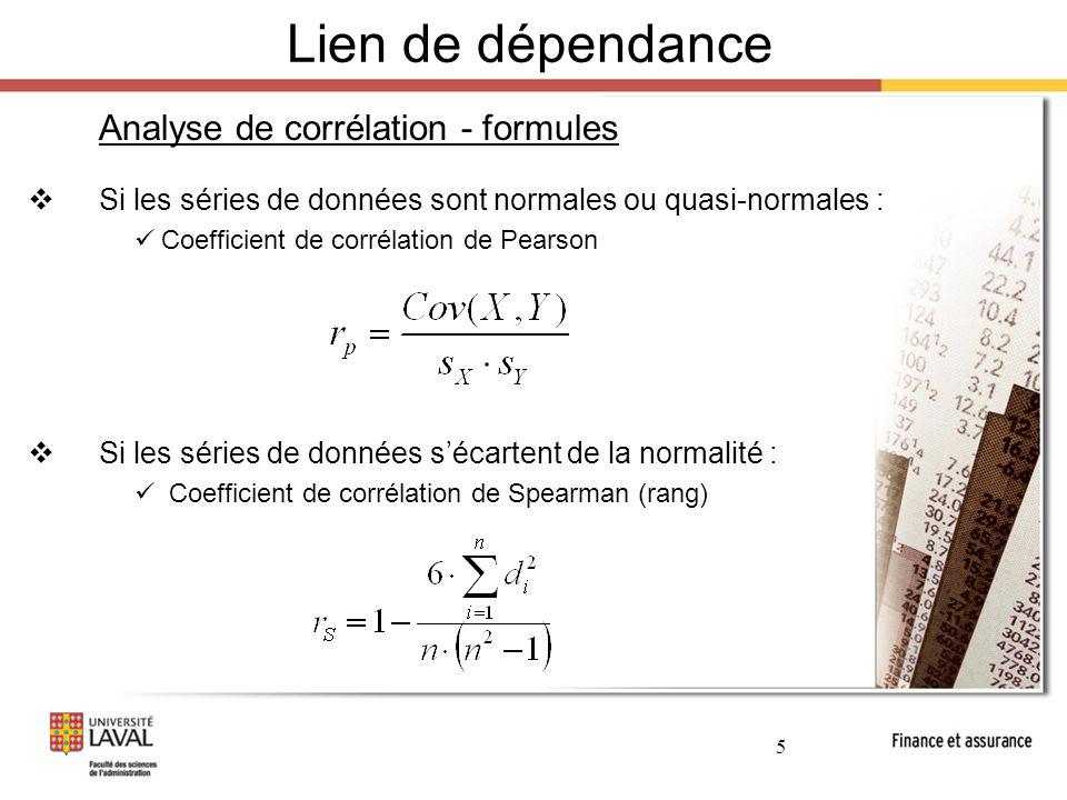 Lien de dépendance Analyse de corrélation - formules