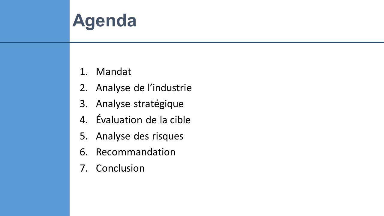 Agenda Mandat Analyse de l'industrie Analyse stratégique