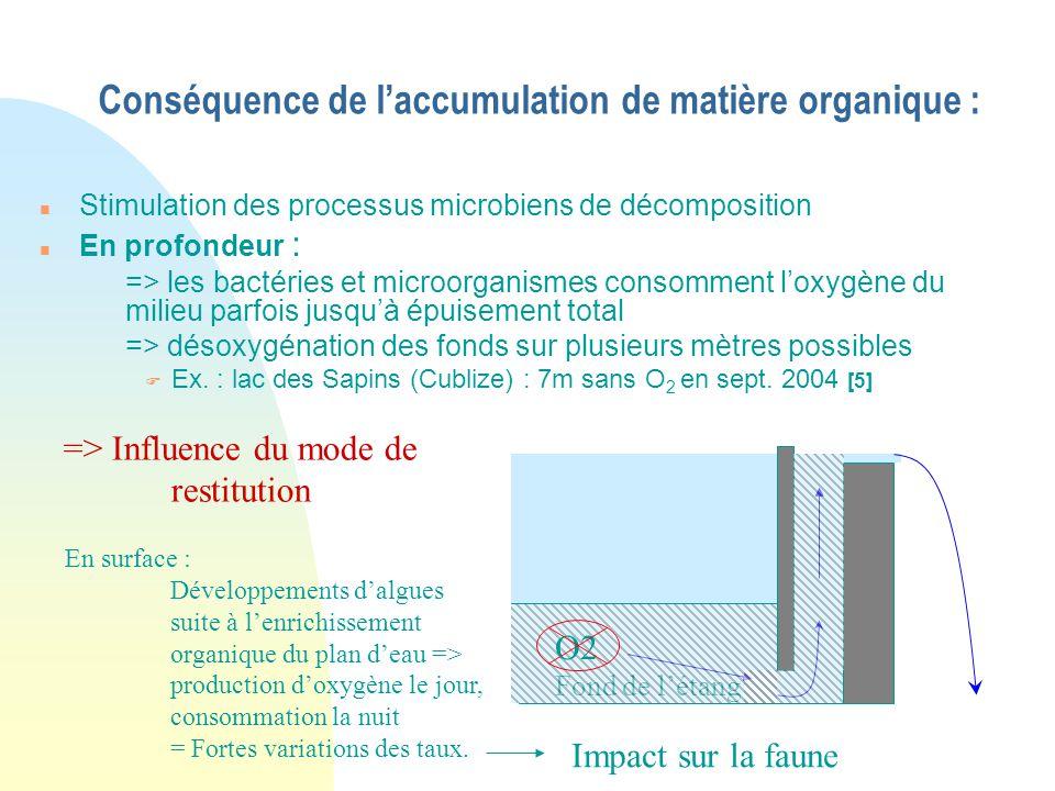 Conséquence de l'accumulation de matière organique :