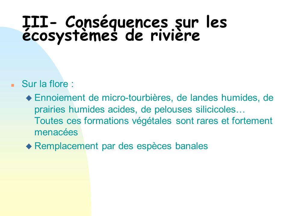 III- Conséquences sur les écosystèmes de rivière