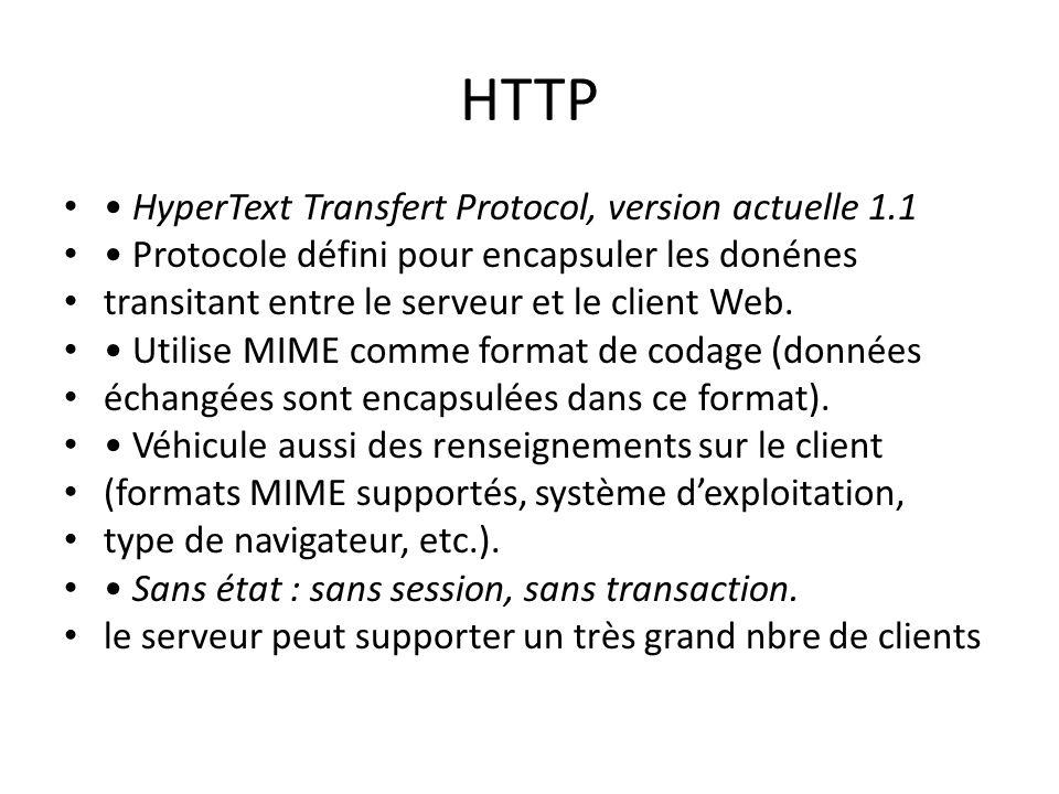 HTTP • HyperText Transfert Protocol, version actuelle 1.1