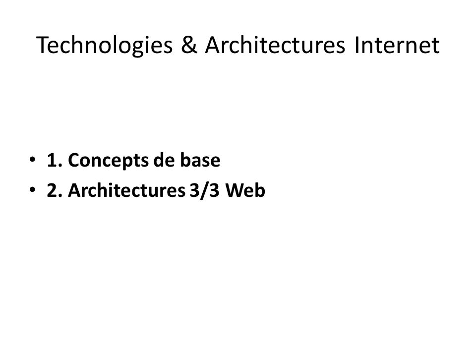 Technologies & Architectures Internet